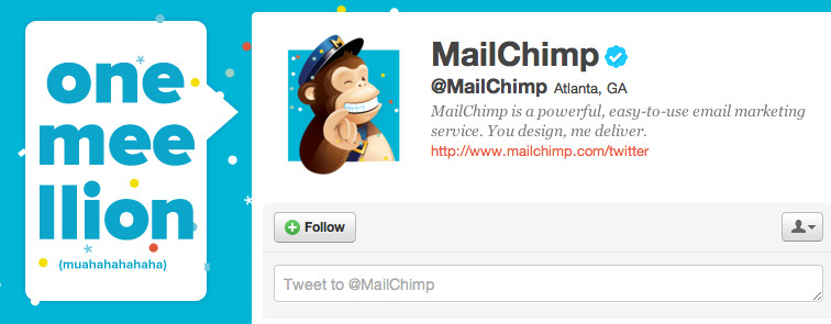 Humor/Twitter: Mailchimp (@mailchimp) uses some humor on their Twitter page.