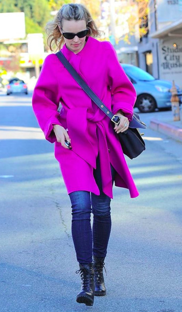 Rachel McAdams stayed warm in a hot pink Vanessa Bruno coat while out and about in Los Angeles.