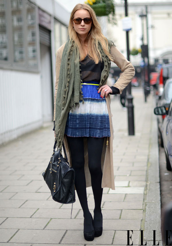 elle:  Street Chic Find a place for a summer skirt in your winter wardrobe. Photo: Courtney D'Alesio