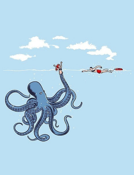 In keeping with the octopus theme, a funny illustration