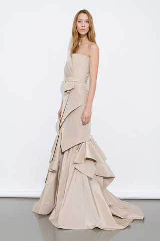 This dress from J. Mendel's Pre-Fall Collection makes us want to cuddle up with a warm and frothy cappuccino. How does it make you feel?