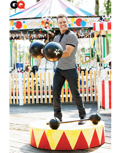 "gq:  Matt Damon Is Wicked Smaht Our current GQ cover fella, shown here lifting cartoonishly large weights like a boss, is annoyingly good at everything— acting, being an Internet meme, and talking to ""ailing Siberian tigers"" (seriously, it happens in his new movie!). One thing he's notoriously not so good at: letting himself be profiled in magazines. Writers always try to get him to spill secrets about himself—not gonna happen—and so when that fails, they have no Plan B. So GQ's Amy Wallace tried a different approach: getting others to talk about him first. Read the full piece here. A choice cut below:  [Soderbergh] calls Damon ""probably the least vain person in his  position""—meaning movie star—""out there. He has no interest in  protecting any sort of idea of himself as an actor."" What he does have, however, is an interest in using his power as an  actor to champion the underdog and right what he perceives to be wrong.  He has thrown his full weight (and his money) behind a charity,  Water.org, that seeks to provide sources of clean water to the Third  World. Over the years, he has spoken up about public-school teachers (he  supports them), the middle class (he thinks they're getting the shaft),  and President Obama (he feels he's not delivering on his promise). At  the White House Correspondents' dinner this year, Obama responded  directly, saying, ""Matt Damon said he was disappointed in my  performance. Well, Matt, I just saw The Adjustment Bureau…"" Damon tells me he didn't see that speech live but got thirty e-mails  from friends the next morning and watched the president's remarks  online. ""I have to say, it was pretty funny,"" he says, getting in his  own dig: ""Whoever came up with it, it was a terrific joke.""  [Photograph by Ben Watts]"