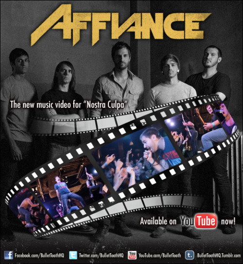 "Affiance have just wrapped up their new music video for ""Nostra Culpa"" and it is available NOW on YouTube! The video showcases the band doing what they do best, and that is performing LIVE. Check them out in front of a packed headlining set at Peabody's in their hometown of Cleveland!  Singer Dennis Tvrdik commented on the video, ""The September 30th show in Cleveland was the best and most exciting show we have played to date! We packed it out with around 600 people and told them to 'show the world what Cleveland is all about'. The entire front half of the crowd sang every word with me and it felt amazing. Our good friend John Stanchina shot the video and we trusted it would come out great (Stanchina also shot the Call To The Warrior video). We chose Nostra Culpa because it was our ""short, sweet, metal"" song that's one of our favorites to play live. Plus it's one of our favorites lyrically, speaking about the de-humanization of mankind through progress in technology. Nostra Culpa meaning ""our fault"", is inspired by an Albert Einstein quote as well as the book ""The Abolition Of Man"" by C.S. Lewis.""  Affiance are excited to announce ""The Warriors Tour"" featuring special guests Serianna (Bullet Tooth), Us From Outside (Tragic Hero) and Sirens And Sailors (Tragic Hero), presented by Bullet Tooth, KillerTours, Tragic Hero, Jakprints, Music Choice, Alternative Press, MerchNow, Hot Topic, Outburn, Guitar World, and Thrust Mgmt. The tour kicks off January 6th!  The band has recently wrapped up US tours with Memphis May Fire, Close Your Eyes, The Color Morale, Stray From The Path, Vanna, This Or The Apocalypse and Deception Of A Ghost.  Their debut album ""No Secret Revealed"" is out now on Bullet Tooth and the band just released their groundbreaking new music video for ""Call To The Warrior"".  The band has received coverage from NoiseCreep and HM Magazine and has received a wealth of great reviews.  The Warriors Tour featuring Affiance, Serianna, Us From Outside, Sirens And Sailors 1/6/2012 Jamestown, NY @ The Gateway Center1/7/2012 Rochester, NY @ Water Street Music Hall1/8/2012 Brooklyn, NY @ The Morgan Theatre1/9/2012 Philadelphia, PA @ TBA1/10/2012 Trenton, NJ @ Backstage at The Championship1/11/2012 Pittsburgh, PA @ Smiling Moose1/12/2012 Canton, OH @ The Auricle1/13/2012 Indianapolis, IN @ The Rick's Theater1/14/2012 Detroit, MI @ The Pike Room @ The Crofoot1/15/2012 Madison, WI @ TBA1/16/2012 Barrington, IL @ Penny Road Pub1/17/2012 St Louis, MO @ FUBAR1/18/2012 Tulsa, OK @ The Marquee1/19/2012 Dallas, TX @ Tomcats1/20/2012 Houston, TX @ Mango's Catina1/21/2012 Panama City, FL @ TBA1/22/2012 St Petersburg, FL @ Local 6621/24/2012 Spartanburg, SC @ TBA1/25/2012 Raleigh, NC @ TBA1/26/2012 Springfield, VA @ TBA1/27/2012 Baltimore, MD @ Sonar1/28/2012 Beckley, WV @ Dry Hill Community Center1/29/2012 Dayton, OH @ The Attic For More Info:www.Facebook.com/AffianceMusicwww.Twitter.com/AffianceMusicwww.KillerTours.com/Affiancewww.Myspace.com/AffianceMusic"