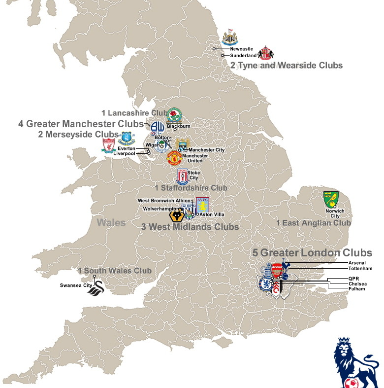 Map of the 2011-12 Premier League teams. (HT to Jason Nofsker via the great resource billsportsmaps.com)