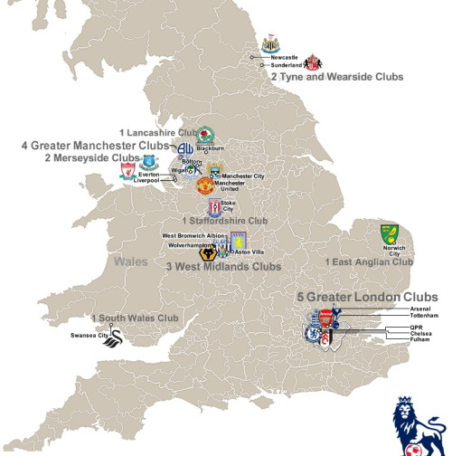 meninblazers:  Map of the 2011-12 Premier League teams. (HT to Jason Nofsker via the great resource billsportsmaps.com)