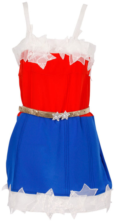 fashiontipsfromcomicstrips:  Wonder Woman dress, by Sonia Rykiel.For colette's DC Comics 75th Anniversary Collection [circa 2010] Not a day goes by where I don't daydream about this dress. I love how Rykiel redesigned Wondy's classic costume into a beautiful slip dress (complete with a gold belt and sheer, lacy stars) without looking tacky or costume-y.