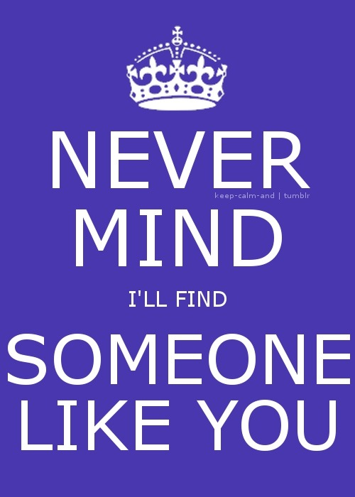 Never mind, I'll find someone like you.