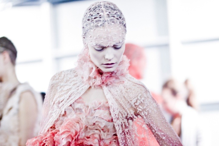Backstage at Alexander McQueen S/S 12 by Kevin Tachman