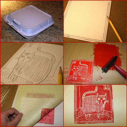 truebluemeandyou:  DIY Foam Stamps. Super Cheap way to make large stamps/block print like images. No tutorial. Download as 1 photo. From The Meta Picture here. *ADDED NOTE: More info here.