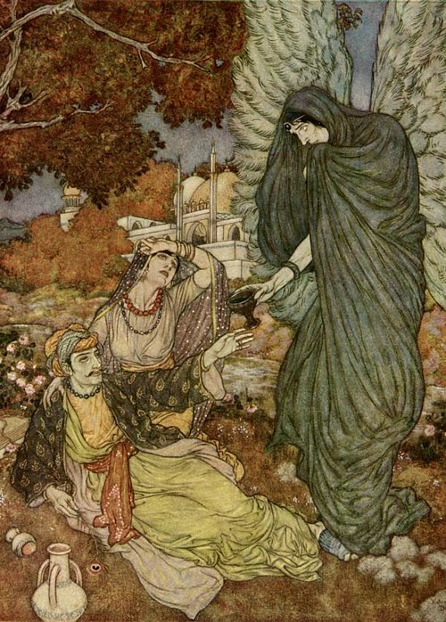 anachronisticfairytales:  Angel of the Drink of Darkness Edmund Dulac The Rabaiyat