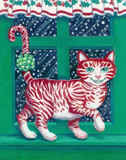 http://www.etsy.com/listing/32782869/christmas-card-candy-cane-cat-weird by me, hoddleypoddley http://www.etsy.com/shop/hoddleypoddley