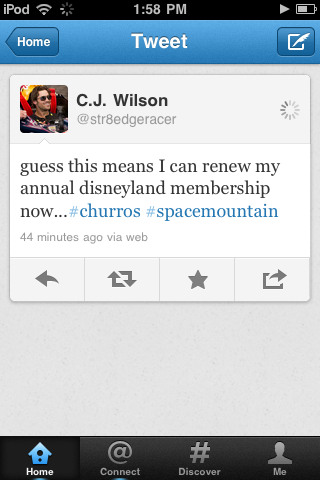 ri0ri0ri0:  Oh baseball gods please let me run into C.J. Wilson at Disneyland!