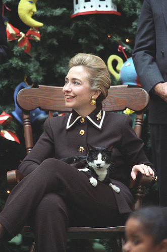 First Lady Hillary Rodham Clinton and Socks the cat hang out for the holidays in the White House.  December, 1995. The Clinton Presidential Library is launching a collection of photos in the Flickr Commons.  To start, there's photos of President Clinton at work, with foreign Heads of State, and for some holiday cheer we've found pics of Socks the cat at Christmas time.  Still to come: sets featuring Hillary, Chelsea, events from the Clinton administration, and of course, Buddy, the Clinton's dog.  Check it out in the U.S. National Archives Flickr Photostream. More - Christmas in the White House with Socks