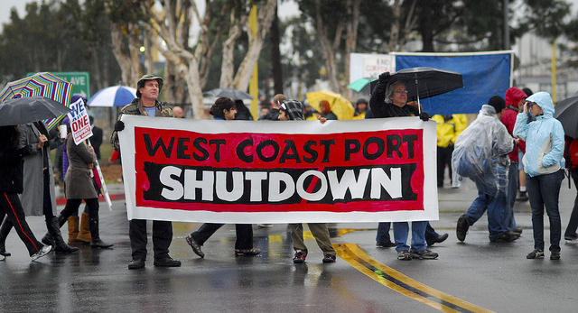 Occupy San Diego Port Shut Down (Dec. 12) on Flickr.Via Flickr: On December 12, Occupy San Diego protesters arrive at the south gate of the port in an attempt to shut down commerce for a day.  (Johnny Nguyen)