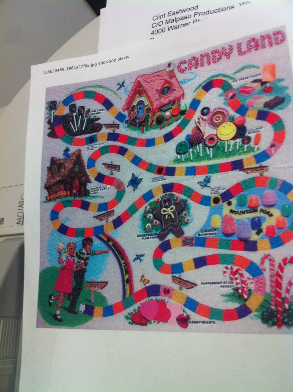 Why he printed a Candy Land map? Your guess…