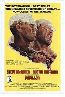 papillon (1973) featuring steve mcqueen and dustin hoffman.  my brother made dinner for the two of us and now we are watching this movie together!