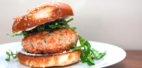 Panko-Crusted Wild Salmon Burgers with Watercress Salad and Miso Dressing