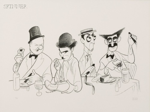 "chaplinfortheages:  This is a portrait by Albert Hirschfeld portraying W.C. FIELDS, CHARLIE CHAPLIN, BUSTER KEATON & GROUCHO MARX  They appear to be posing with the object they were known for, W.C. Fields was a drinker, Charlie Chaplin the boot from The Gold Rush, Groucho Marx with his cigar, Buster Keaton appears to be holding sausages but I'm not sure what film that is from  The price is estimated between $600 and $800 Albert ""Al"" Hirschfeld (June 21, 1903 – January 20, 2003) was an American caricaturist best known for his simple black and white portraits of celebrities and Broadway stars.   Buster used to do a ""Princess Raja"" routine and used hot dog links as a snake."