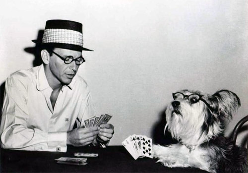 theniftyfifties:  Frank Sinatra (and friend) on the set of 'The Tender Trap', 1955.  yesssz