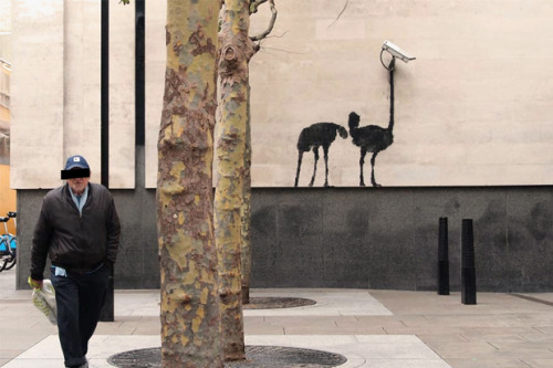 Bansky at the National London Gallery. - He strikes again.