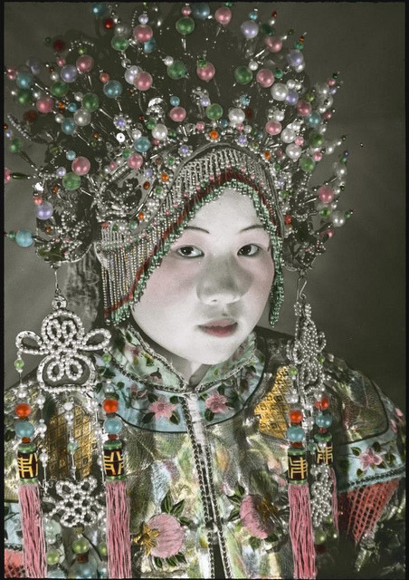 A woman wearing a headdress by Powerhouse Museum Collection on Flickr.