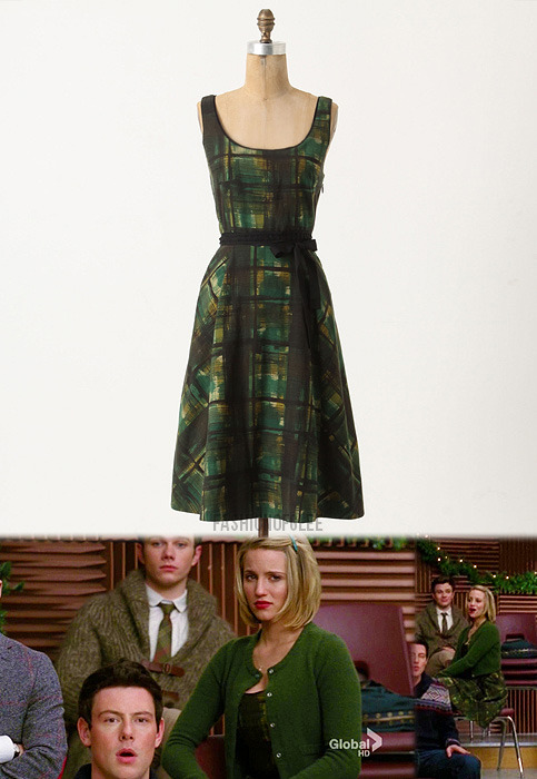 fashionofglee:  Anthropologie Painted Plaid Dress - No longer available Worn with: Anthropologie cardigan, Anthropologie booties
