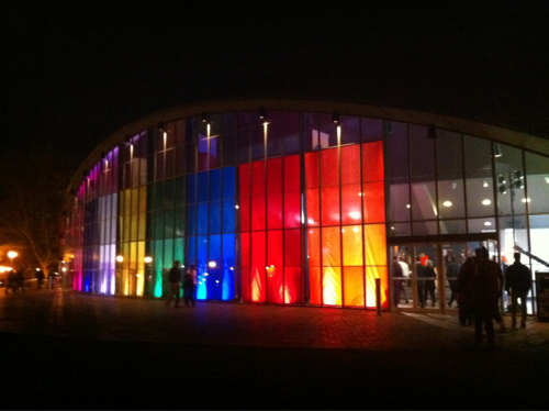 Eero Saarinen's Kresge Auditorium swathed in color for 2.009 at MIT yesterday.