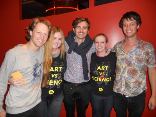 Simone and I meeting our favourite band, Art vs Science for the 2nd time in Hobart on the 29th of September '11. MUCHOS EXCITING!! L-R: Jim Finn, Me, Dan McNamee, Simone and Dan Williams :D