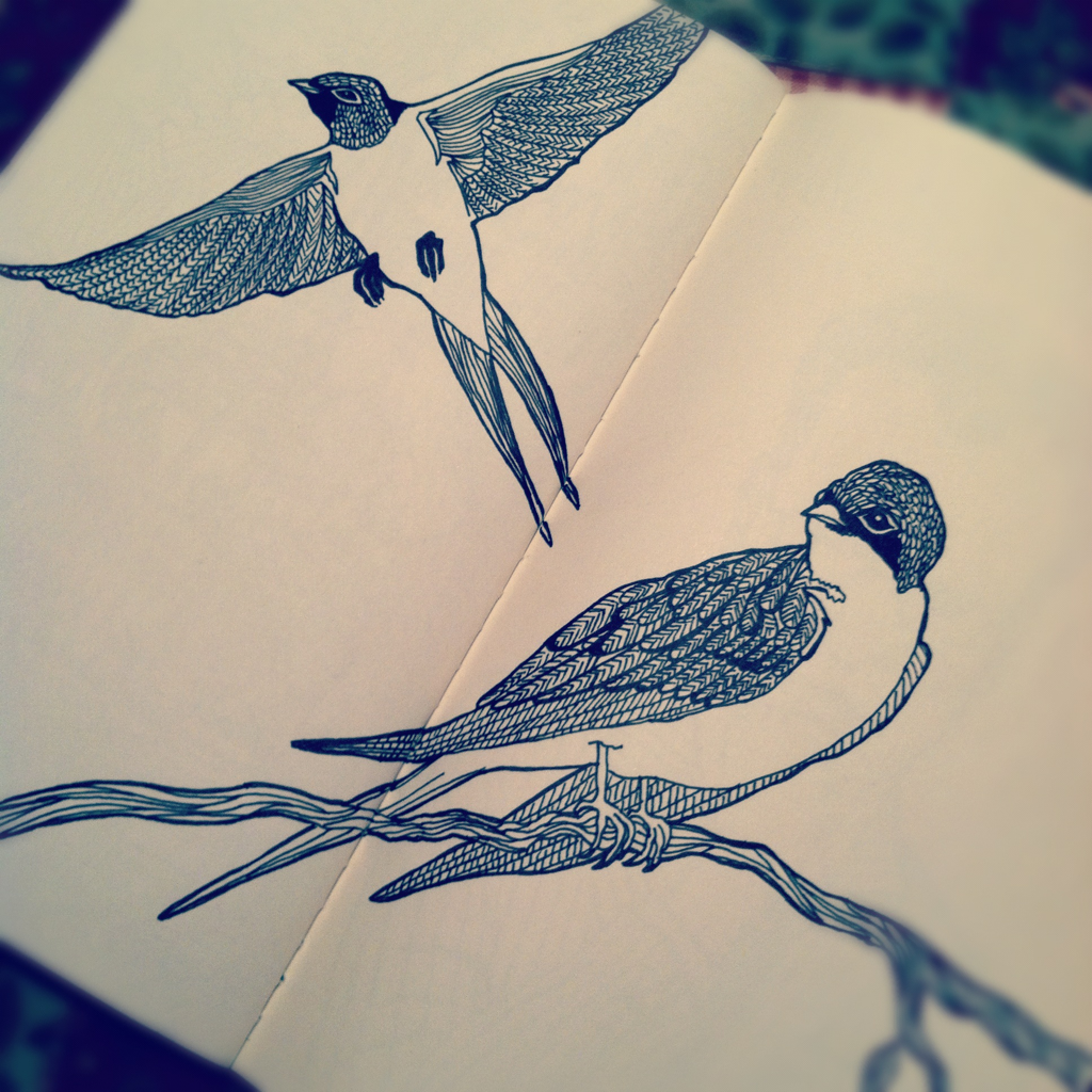 Fly away sparrows in my moleskine. Drew them in pen and ink.