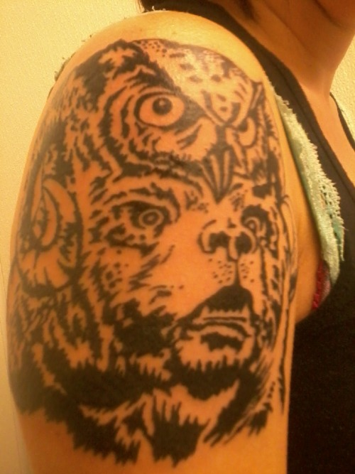 my new tattoo;; this was taken freshh, 11/13/11. art work called noble beast for lemuria by craig horky ;; tattoo by gentleman jim in norfolk, va!!