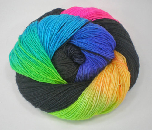 hand dyed sock yarn superwash merino nylon fingering NEON LIGHTS 460 yds.