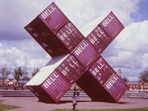 "Luc Deleu, ""Construction X"", 1994. Containers, 610 x 610 x 180 cm."