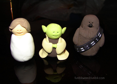 Handmade Star Wars… thingys. Luke is so chubby.