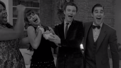 "In case you missed it, Glee did half their episode in black and white and with a laugh track last night, lampooning the classic holiday specials of television's Golden Age. (Hence, my ""Community and Glee switched"" comment.) Because clearly, Greendale aren't the only ones unafraid to get weird or commit to an extended genre pastiche. And for 25 minutes it was surprisingly creative, perfectly quirky television. Good job Glee.  (img via blurintofocus)"