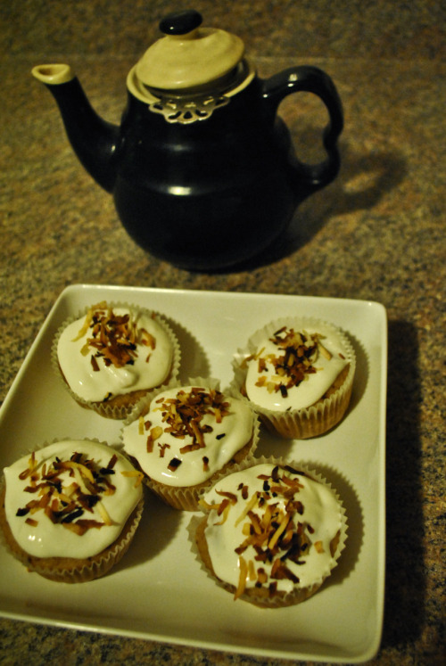Vegan Coconut Cupcakes n' Toasted Coconut Kefir Cream Frosting.  W/ Homemade Chai  Cupcake Ingredients/recipe Via Jetta <B Thank you.