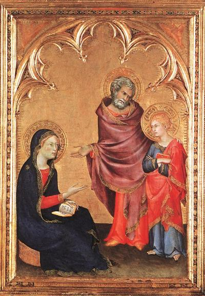 mrscaravaggio:  Simone (yay!) Martini - Christ Returning to his Parents -1342 You never see grumpy adolescent Christ. This is great!