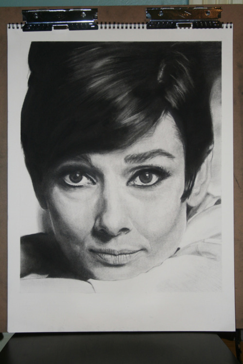 Audrey Hepburn, done with charcoal. My final from Analysis of form.