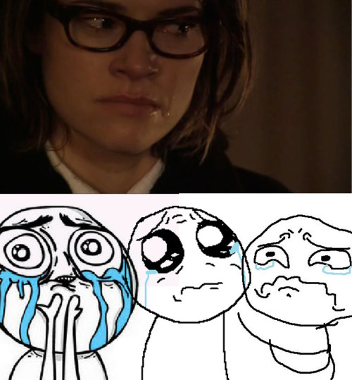 acommonreaction:  Double cry attack: I can't stand seeing Leisha cry/she looks so fuggen cute when she cries which makes me wanna cry too. Especially in those glasses. Aw man. LET ME LOVE YOU!!  THIS BROKE MY HEART!