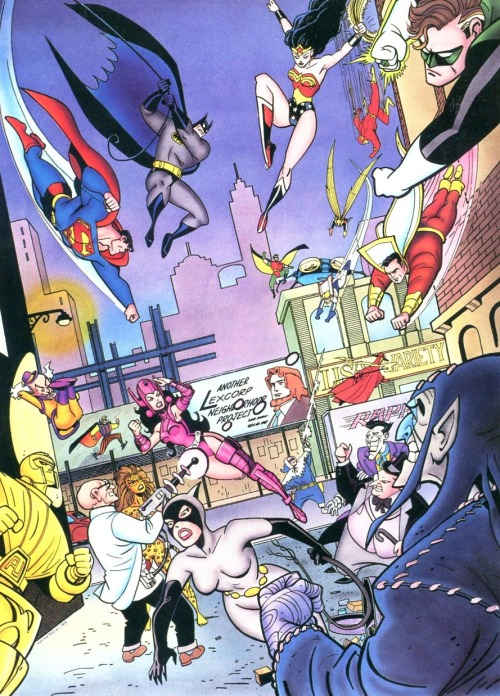 Artwork for Superman/Batman Magazine #1 (1993) by Ty Templeton. The top half with the heroes was used as a wraparound cover, while the bottom half with the villains was a poster insert.