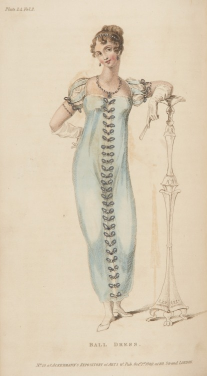 Ackermann's Repository, Ball Dress, October 1809.  This color is so beautiful- and I LOVE her sleeves!