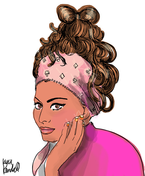 bow hair in a giant spaghetti pile and princess nails warm-up sketch.