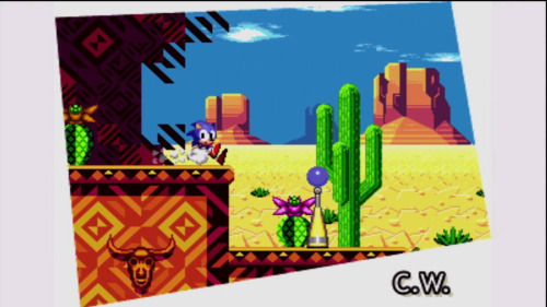 Hidden image discovered in the new remake of Sonic CD for XBLA/PSN/PC/Mobile. The Taxman (developer of the remake) had this to say:  So what is this image doing in Sonic CD?Basically, earlier on in the remake's development there were 2 new levels: Desert Dazzle & Final Fever (another boss)Neither level was fully complete, and we had to make the call whether or not to go ahead and finalize them. Sonic Team felt the game should not deviate too far from it's original form, and in retrospect it was for the best since we had a lot of other work to do anyway.I left this image in since it's quite a groovy looking Zone, and it also serves as a way for you to get to the stage select as Tails.