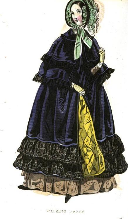 Cabinet des Modes, December 1841. Ooohhh!  I really like this outfit!  Lots of colors, but they aren't overwhelming!  And she looks so warm and cozy.