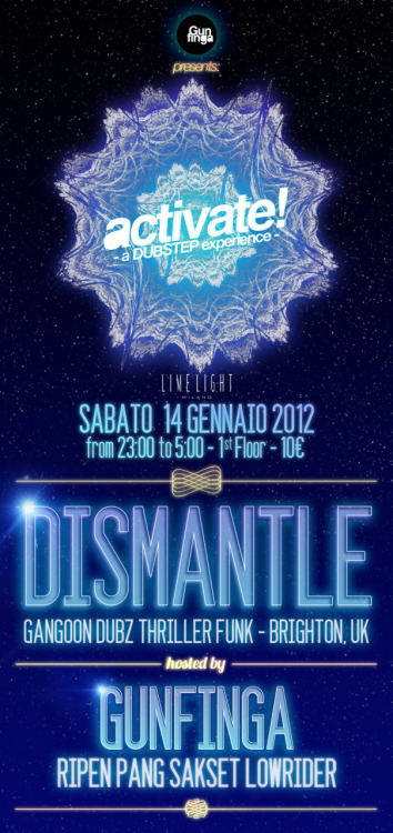 // ACTIVATE! // :: a Dubstep experience :: Saturday the 14th , January 2012 Live @ Limelight Club, Milano ———————————————————————— GUNFINGA CREW DISMANTLE - Gangoon Dubz // Thriller Funk ————————————————————————- Follow us! Facebook: Gunfinga Sound Dubstep Soundcloud: http://soundcloud.com/gunfinga Mixcloud: http://www.mixcloud.com/GUNFINGA Twitter:http://twitter.com/#!/GunfingaSound Myspace: http://www.myspace.com/gunfingasound Youtube: http://www.youtube.com/user/gunfingasound