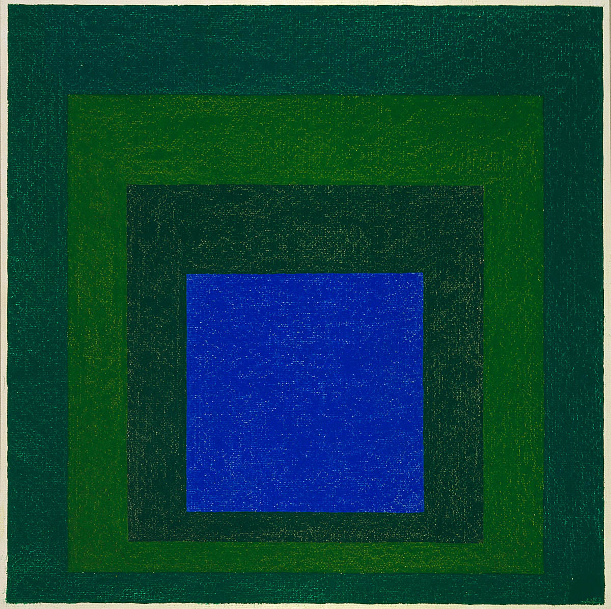 "Homage to the Square: ""Enclosed Blue"", from the series Great Ideas of Western Man 1957   Josef Albers    Born: 															Bottrop, Germany 1888   Died: 															New Haven, Connecticut 1976  oil on fiberboard 23 7/8 x 24 in. (60.7 x 61.0 cm.) Smithsonian American Art Museum"