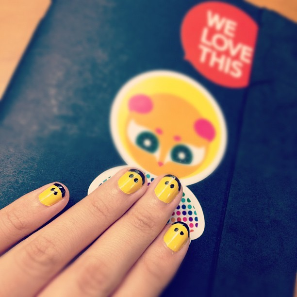 lalairvanlia:  DIY Lego Nail #nailart #yellow #cowlt (Taken with instagram)