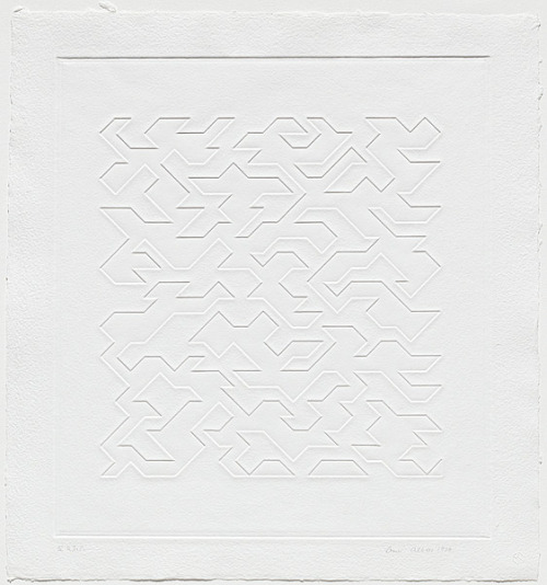 yama-bato:   Anni ALBERS 1899 Germany – United States of America 1994 Mountainous IV 1978 embossing no colour embossing printed from 1 magnesium plate Impression: right to print Edition: edition of 20, plus 10 AP, RTP, PPI, A, C comp 47.4 h x 43.0 w cm  Purchased 1979 Accession No: NGA 79.2924 © Anni Albers/ARS. Licensed by Viscopy