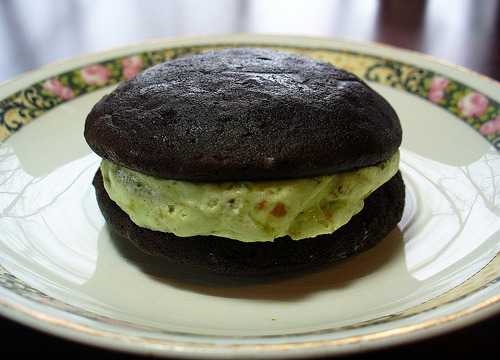 Vegan Chocolate Pistachio Whoopie Pies made by Natalie at Bake and Destroy! I won these bad girls in a contest and yes, they are delish. And Natalie was nice enough to share the recipe so you can make them your own self. (AND SEND THEM ALL TO MEEEE!)