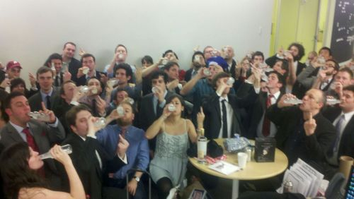 Sarah iced our holiday party last night.  This is everyone, including our CEO, on one knee chugging an ice and flipping off Sarah.