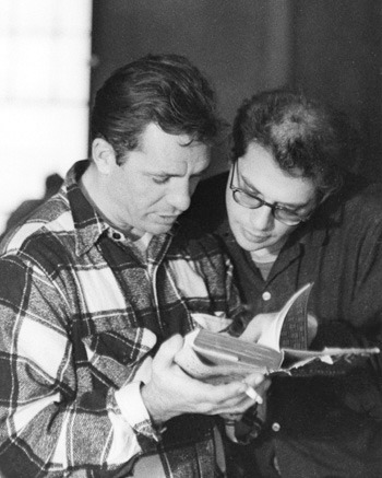 awesomepeoplereading:  Jack Kerouac and Allen Ginsberg read.